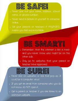 Computer and Internet Safety Poster - white font