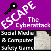Computer and Social Media Safety Game Escape a Cyberattack - Print or Digital