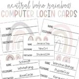 Computer and Technology Login Cards Editable Neutral Boho Rainbow