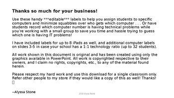 Computer and iPad Numbers - Burlap