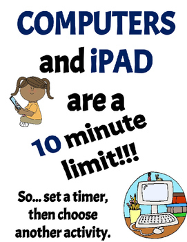Computer and iPad time limit poster