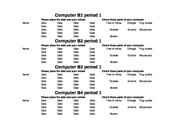 Computer check out sheet requiring students to account for any damages