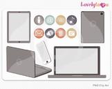 Computer tech, laptop, ipad, icons PNG clip art (023)