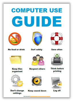 Computer use poster-9 rules for using computers (editable)