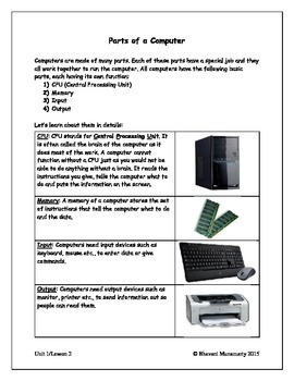 Computers Introduction - Parts of a Computer