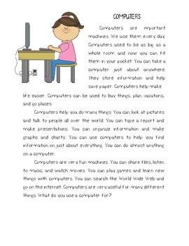 Computers Reading Comprehension Passage Freebie