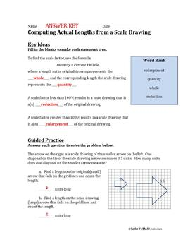 Computing Actual Lengths from a Scale Drawing Worksheet