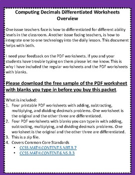 Computing Decimals Differentiated Worksheets