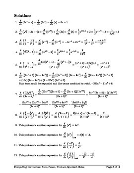 AP Calculus - Computing Derivatives: Sum, Power, Product, and Quotient Rules