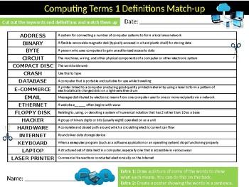 Computing Terms Definition Matchup Sheet Keywords Activity Computer Science
