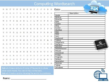 Computing Wordsearch Sheet Starter Activity Keywords Cover ICT Science