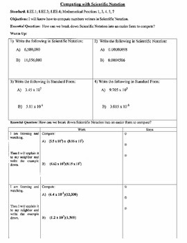 Computing with Scientific Notation (8.EE.1) - Notes and Ex