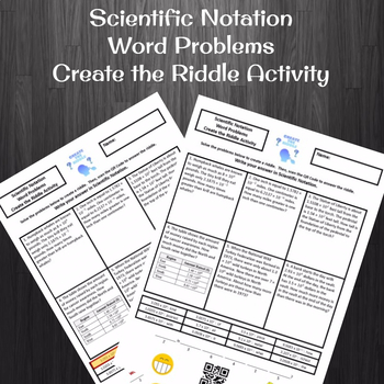 Computing with Scientific Notation Word Problems Create the Riddle Activity