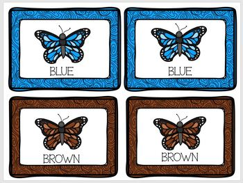 Concentration Butterflies Learning Colors