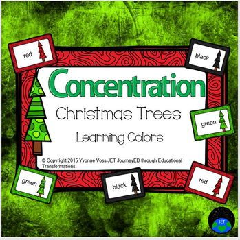 Concentration Christmas Trees Learning Colors