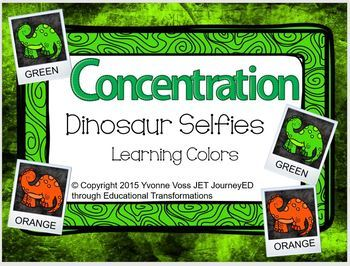 Concentration Dinosaur Selfies Learning Colors