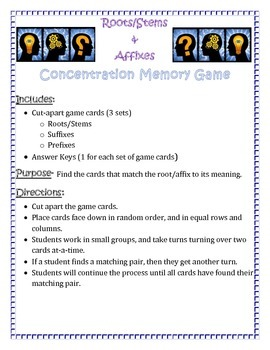 Concentration Game- Roots and Affixes