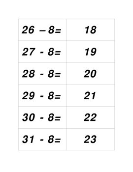Concentration Game - Subtracting Eight