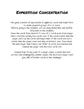 Concentration Game: Writing and Modeling Algebraic Expressions