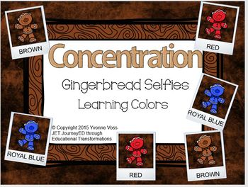 Concentration Gingerbread Selfies Learning Colors