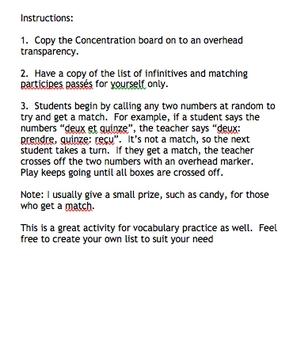 Concentration: Les participes passes irreguliers