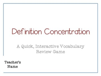 Concentration Memory Game Template