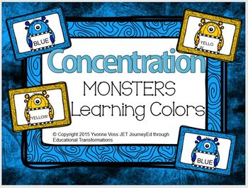 Concentration Monsters Learning Colors