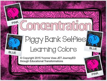 Concentration Piggy Bank Selfies Learning Colors