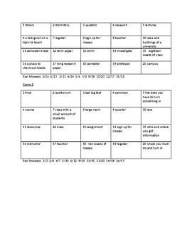 Concentration--School/University Vocabulary