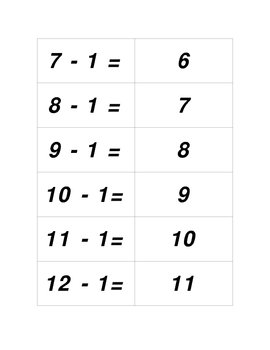 Concentration Sets for Subtracting 1 thru 10