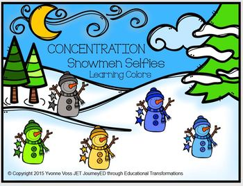 Concentration Snowman Selfies Learning Colors