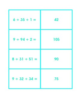 Concentration Three Addends with and without Regrouping