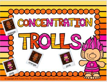Concentration Trolls Learning Colors
