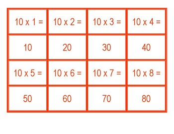 Concentration for Multiplication for 10 x 1 to 10 x 100