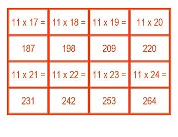 Concentration for Multiplication for 11 x 1 to 11 x 100