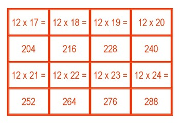 Concentration for Multiplication for 12 x 1 to 12 x 100