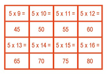 Concentration for Multiplication from 5 x 1 to 5 x 100