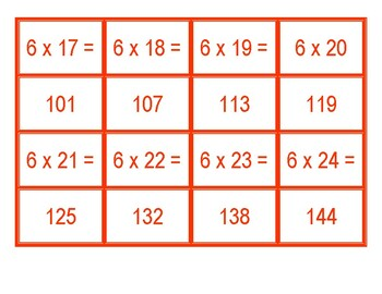 Concentration for Multiplication from 6 x 1 to 6 x 100