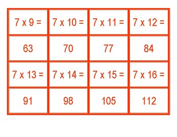 Concentration for Multiplication from 7 x 1 to 7 x 100