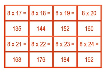 Concentration for Multiplication from 8 x 1 to 8 x 100