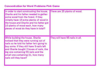 Concentration for Word Problems Pink Game