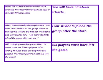 Concentration for Word Problems Purple Game