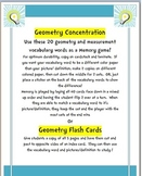 Concentration game with Geometry vocabulary words