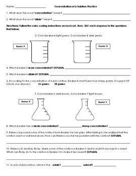 Concentration of a Solution Practice Handout