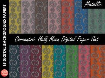 Digital Papers Set BUNDLE Concentric Half Moon