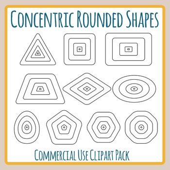 Concentric Rounded Shapes for Level Diagrams Clip Art for Commercial Use