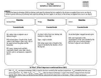 Concept Comparison Frame: Simple Machines, Efficiency, and Mechanical Advantage