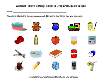 Concept Sorting Picture Activity- Solids & Liquids: Science, Speech, Special Ed