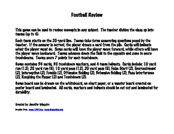Concept Review Game - Football Theme