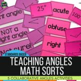 Angles: Five Math Sorts for Types of Angles, Measuring Ang
